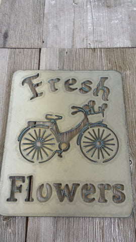 Fresh Flowers Bicycle Metal Sign