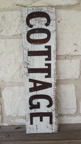 Handmade Reclaimed Barn Tin Sign | Cottage