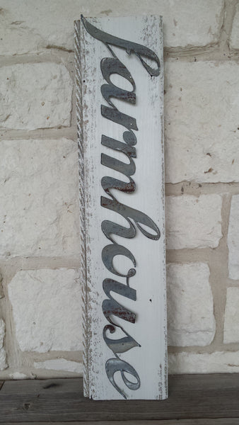 Handmade Reclaimed Barn Wood & Tin Farm House Sign