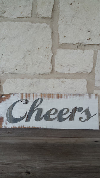 Handmade Reclaimed Barn Tin Cheers Sign