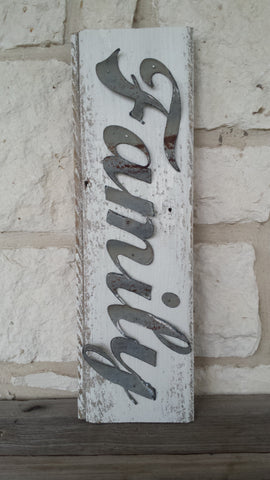 Handmade Reclaimed Barn Wood & Tin Family Sign
