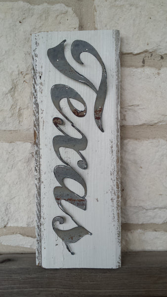 Handmade Reclaimed Barn Tin Texas Sign