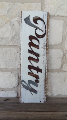 Handmade Reclaimed Barn Tin Pantry Sign