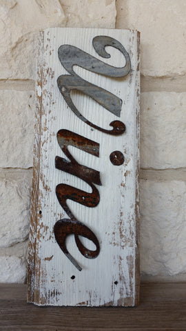 Handmade Reclaimed Barn Wood & Tin Wine Sign