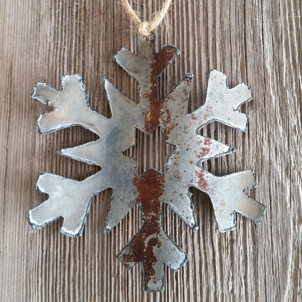 Reclaimed Tin Snowflake Ornament