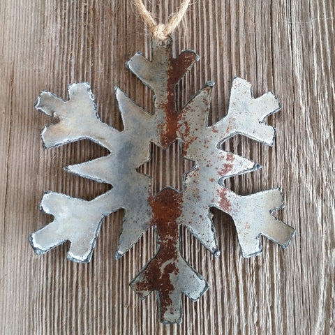 reclaimed barn tin snowflake ornament