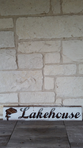 Handmade Reclaimed Barn Wood & Tin Lake House Sign