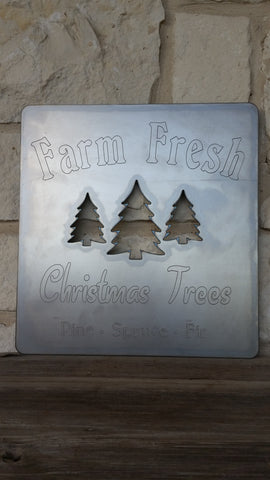 Farm Fresh Christmas Trees Metal Sign