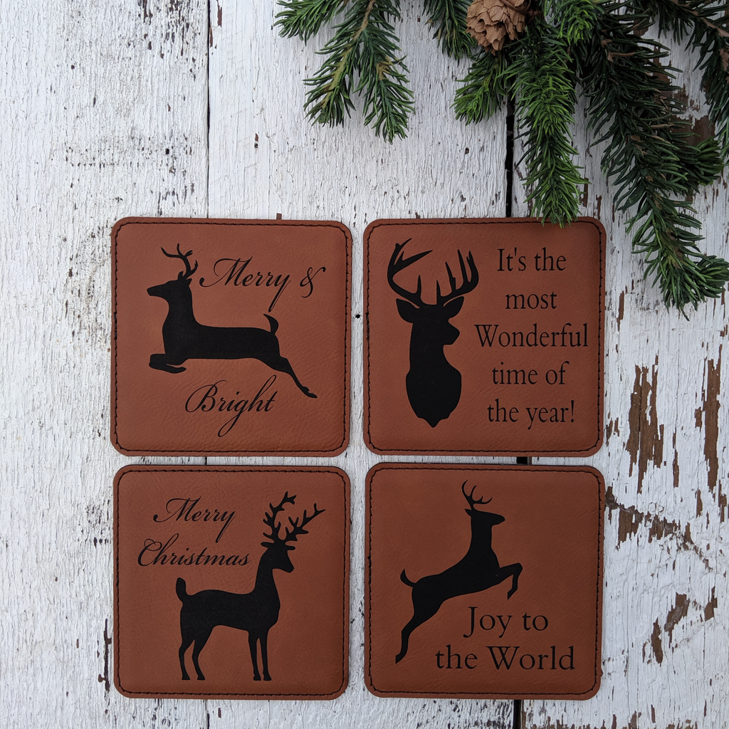 Christmas deer coaster set
