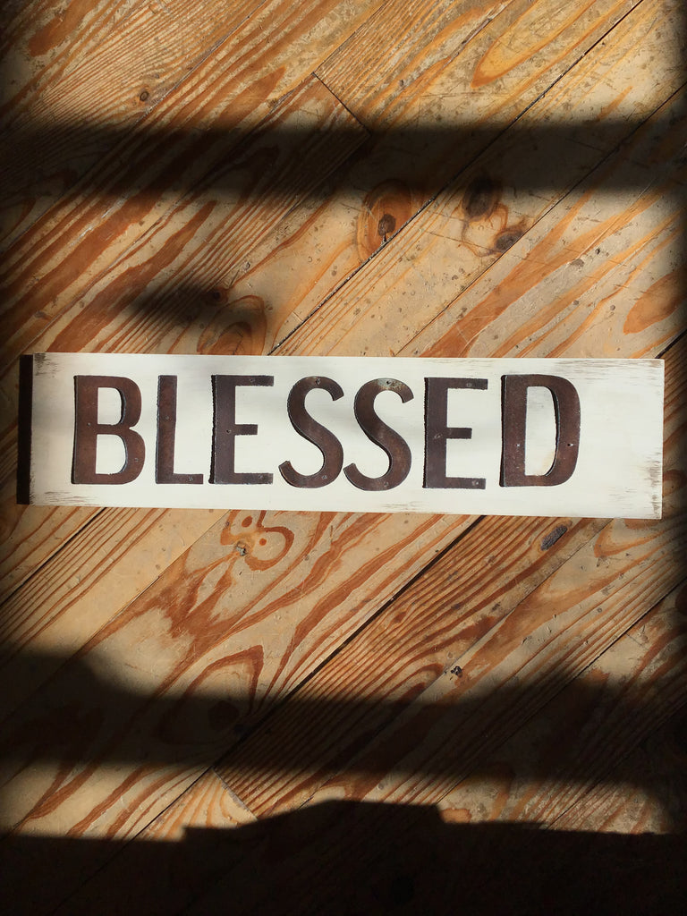 Reclaimed Barn Tin Sign | Blessed