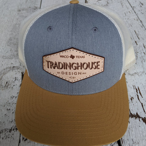 Tradinghouse Design Leather Patch Hat- Gold/Blue