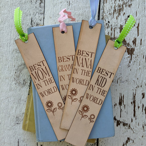 Best Mom/ Kid/ Nana Customizable Leather Bookmark
