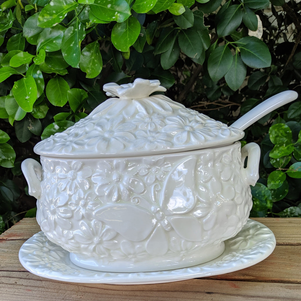 White Soup Tureen with Plate, Lid & Ladle