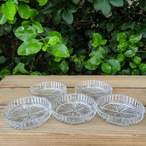 Vintage Crystal Clear Ribbed Glass Coasters - Set of 5