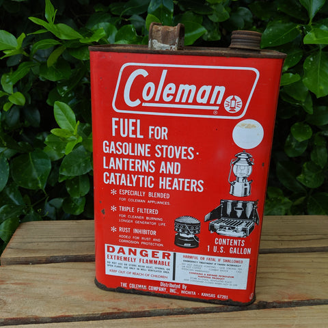 vintage coleman fuel can gasoline stoves lanterns catalytic heaters man cave decor lodge