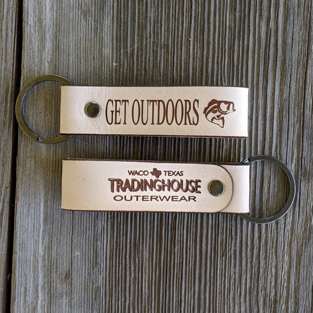 get outdoors tradinghouse outerwear logo bass fishing leather keychain
