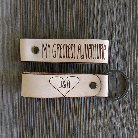 Customizable leather keychain my greatest adventure  initials