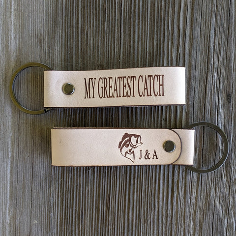 Customizable leather keychain my greatest catch bass fishing initials