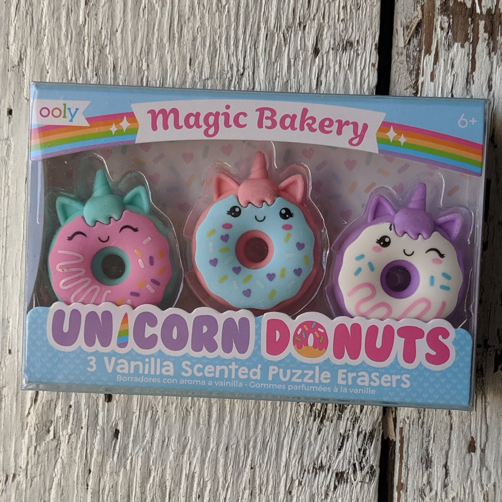 ooly magic bakery unicorn donuts vanilla scented puzzle erasers