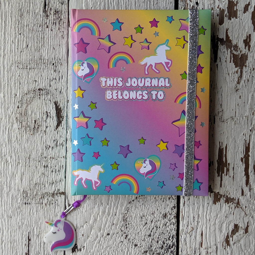 Unicorn glitter elastic journal three cheers for girls 3c4g