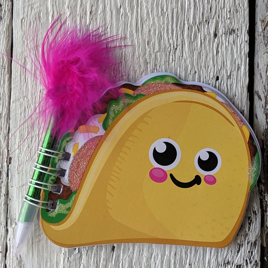 mini taco notebook feather pen party favor