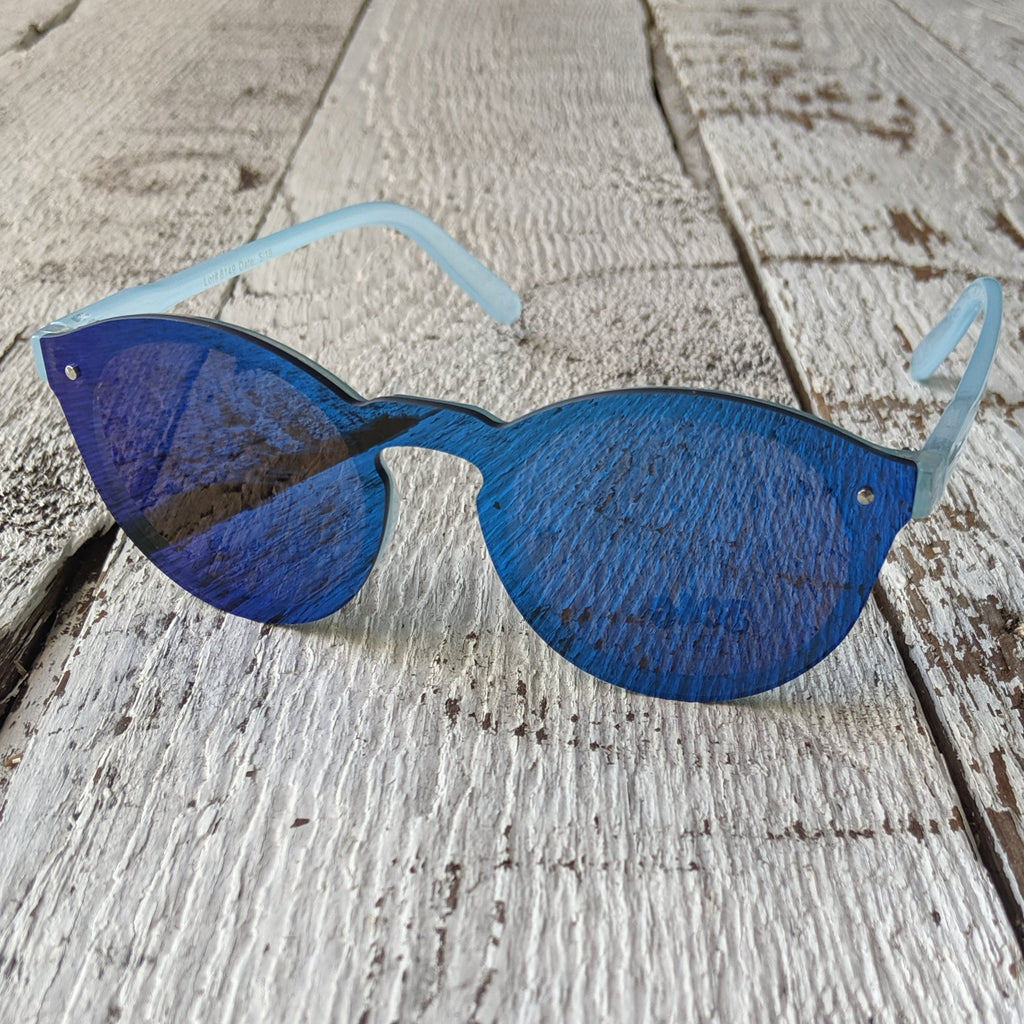 blue frameless sunglasses three cheers for girls 3c4g