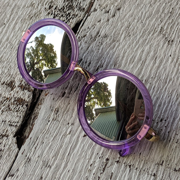 Purple round sunglasses three cheers for girls 3c4g