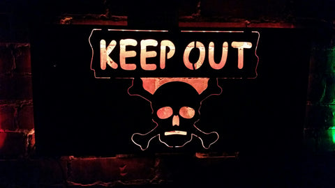 Keep Out Cross Bones LED Sign