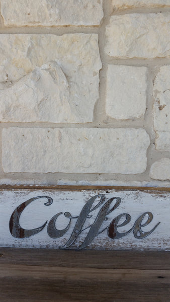 Handmade Reclaimed Barn Tin Coffee Sign