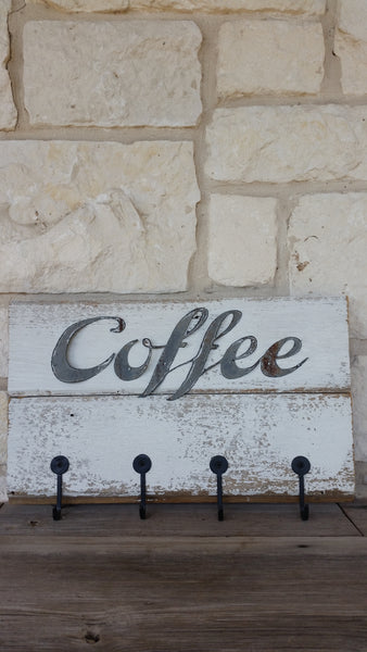 Handmade Farmhouse Style Coffee Sign & Cup Storage