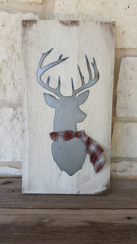 Deer with Plaid Scarf Sign