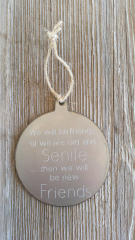 Senile Friends Steel Ornament