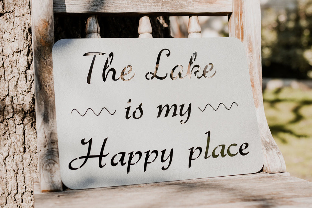 The Lake is My Happy Place Metal Sign