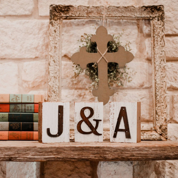 Small Reclaimed Barn Wood Initial Block Set