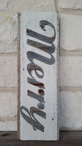 Handmade Reclaimed Barn Wood & Tin Merry Sign