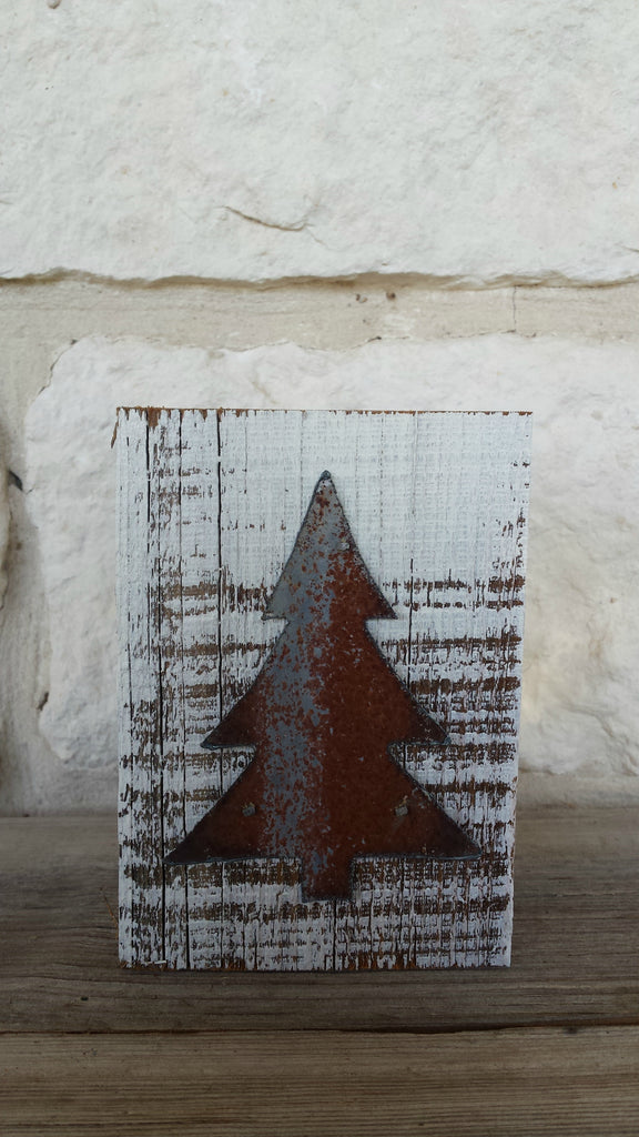 Handmade Reclaimed Barn Wood & Tin Christmas Tree Block