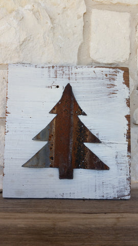 Handmade Reclaimed Barn Wood Sign | Christmas Tree