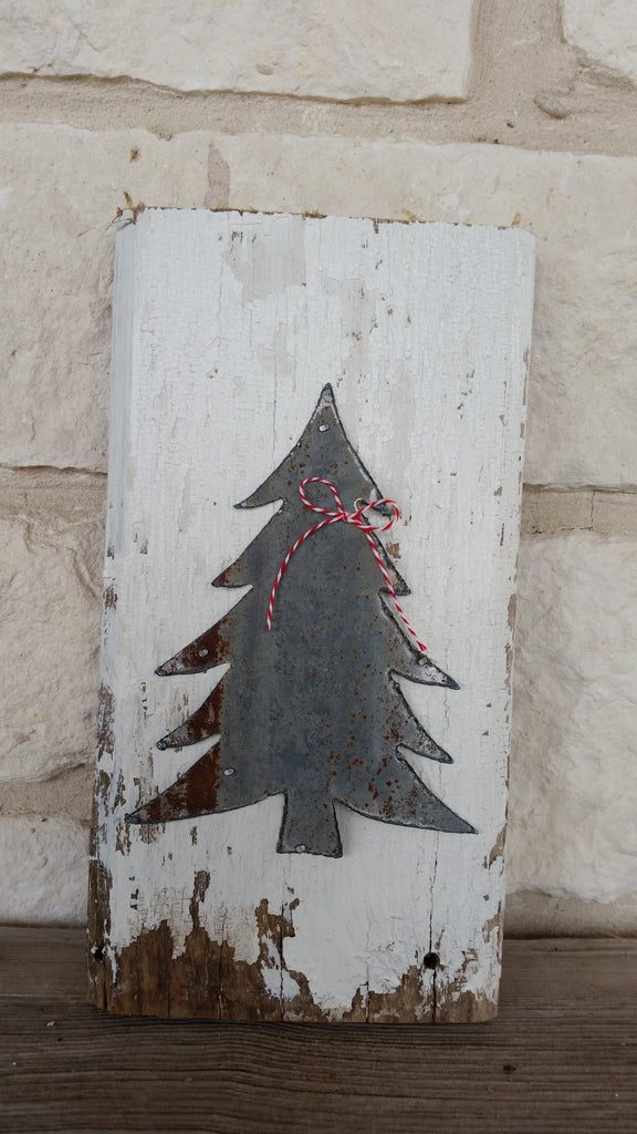 Handmade Reclaimed Barn Tin Christmas Tree Sign