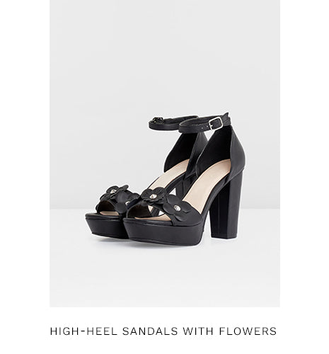 HIGH-HEEL SANDALS WITH FLOWERS