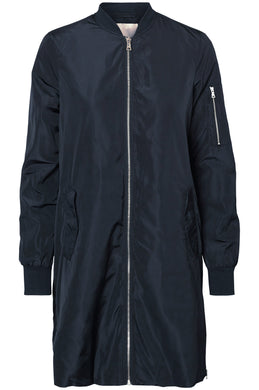 BLOUSON AVIATEUR LONG SATINÉ