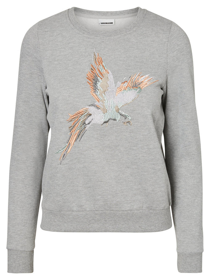 EMBROIDERED SWEATSHIRT LIGHT GREY MELANGE