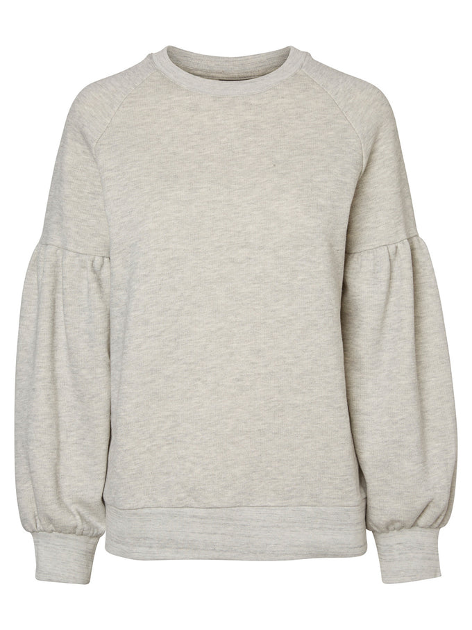PUFFED SLEEVE SWEATSHIRT LIGHT GREY MELANGE