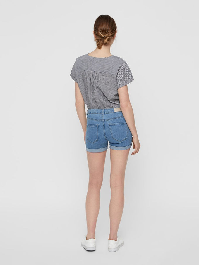 STRETCH DENIM SHORTS LIGHT BLUE DENIM