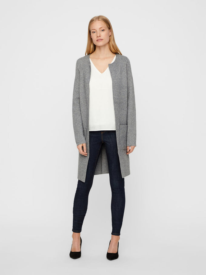 CARDIGAN LONG GRIS MOYEN