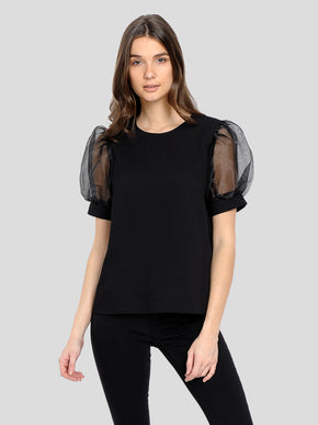 RECYCLED-POLYESTER BLOUSE WITH BALLOON SLEEVES