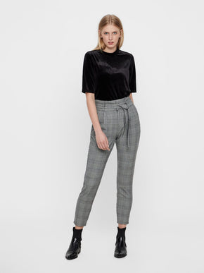 CHECKERED PAPER-BAG PANTS