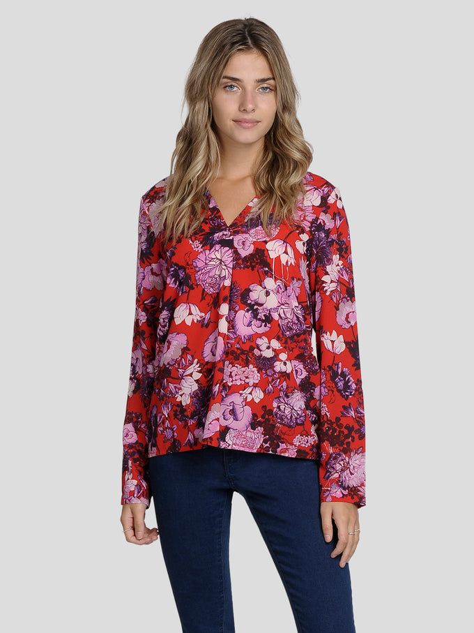 FLOWER PRINT BLOUSE CHINESE RED