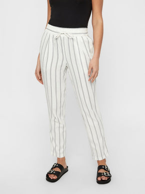 LINEN-BLEND STRIPED ANKLE PANTS