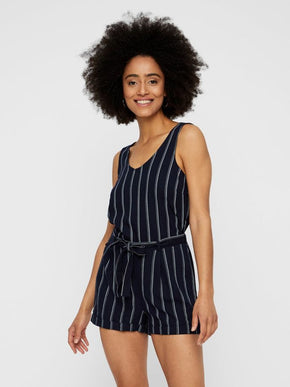 STRIPED LINEN-BLEND ROMPER