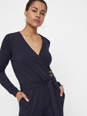 Wrap Front Long Sleeve Jumpsuit
